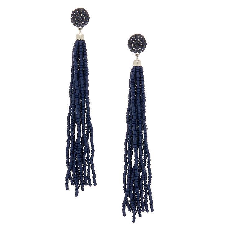 5 Beaded Tel Drop Earrings Navy