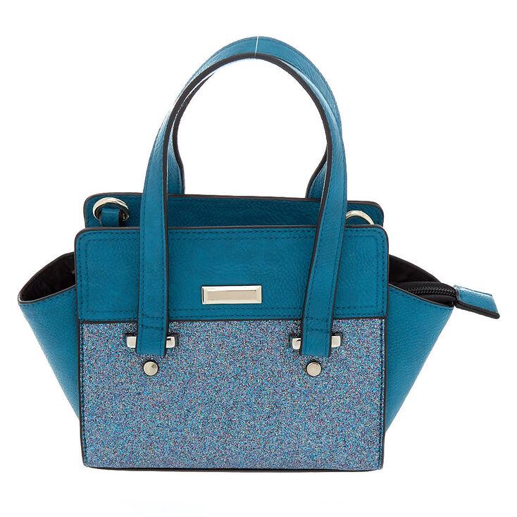 Glitter Mini Satchel Crossbody Bag - Teal,