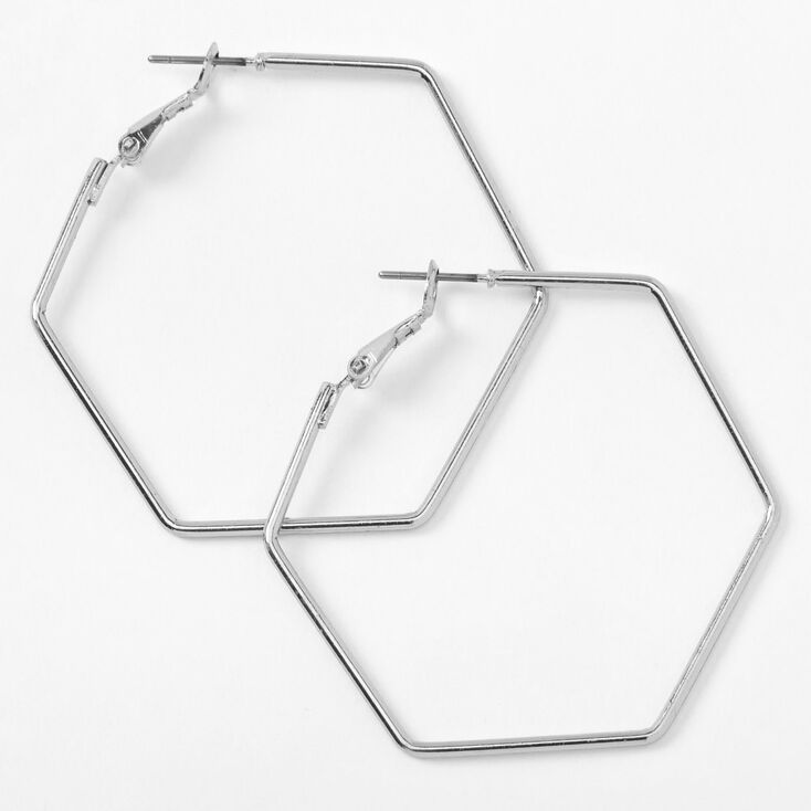 Vintage Style Jewelry, Retro Jewelry Icing Silver 40MM Hexagon Hoop Earrings $5.99 AT vintagedancer.com