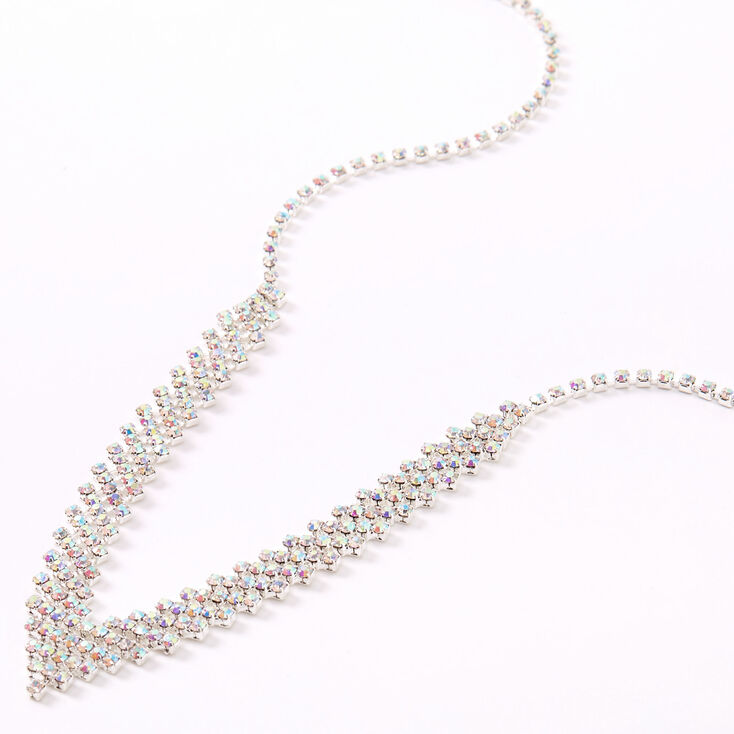 Silver Aurora Borealis Rhinestone Chevron Statement Necklace,