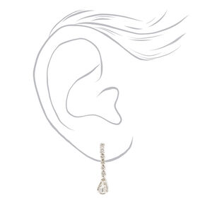 Silver Teardrop Rhinestones Necklace & Earring Set - 2 Pack,