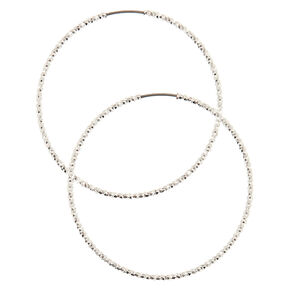 40MM Laser Cut Silver Hoop Earrings,
