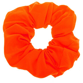 Medium Ribbed Hair Scrunchie - Neon Orange,