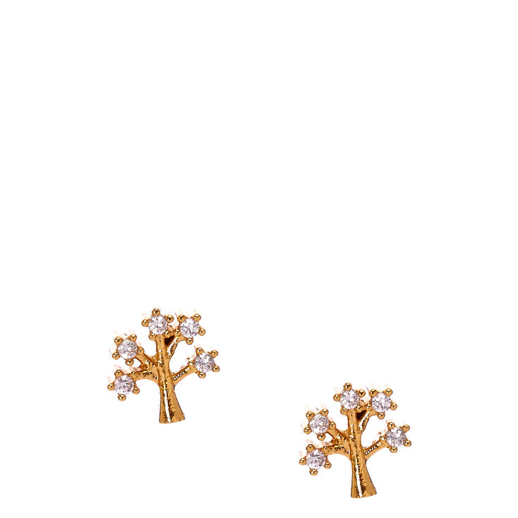 Gold Plated Cubic Zirconia Tree Earrings,