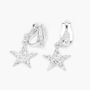 "Silver 1"" Sandblast Star Clip On Drop Earrings,"