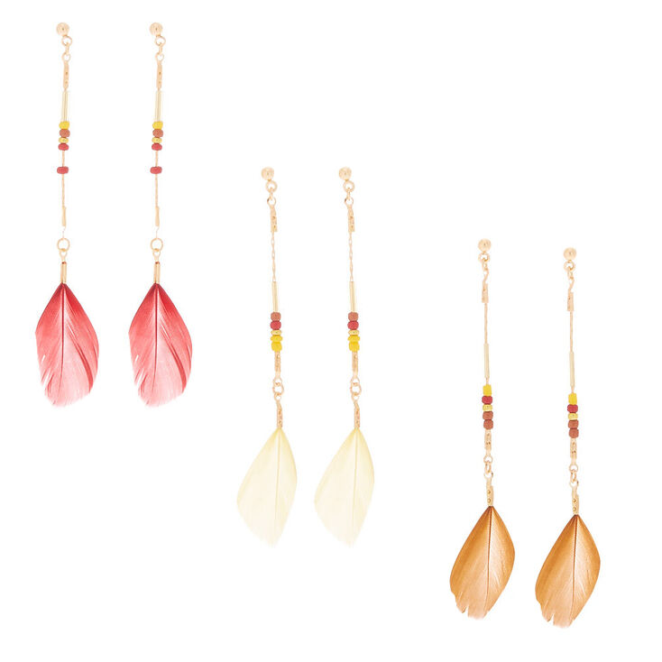 """Gold 3"""" Feather Drop Earrings - 3 Pack,"""