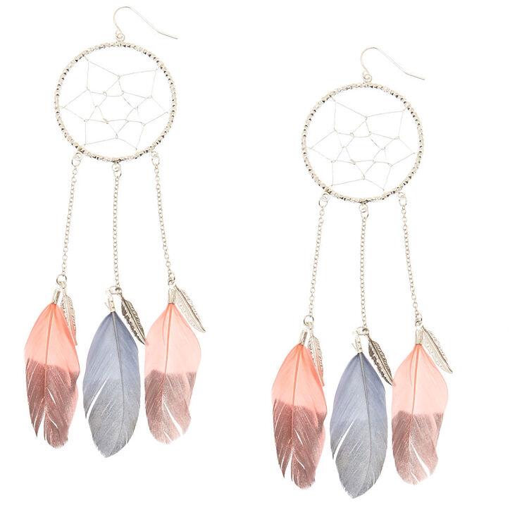 Pink & Gray Dreamcatcher Drop Earrings,