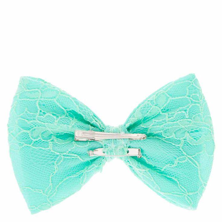 Mint Floral Lace Bow Hair Clip,