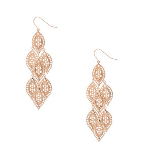 Rose Gold Tone Filigree Leaf Dangle Drop Earrings,
