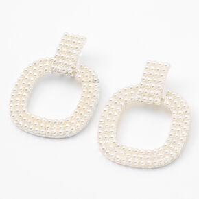 """Silver 1.5"""" Pearl Door Knocker Drop Earrings,"""