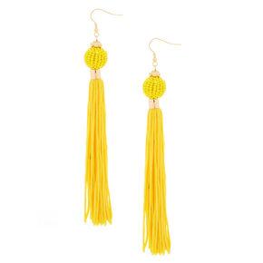 "5"" Vintage Design Tassel Drop Earrings - Yellow,"