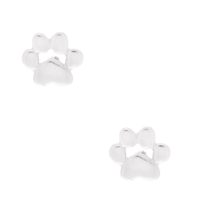 Sterling Silver Dog Paw Stud Earrings,