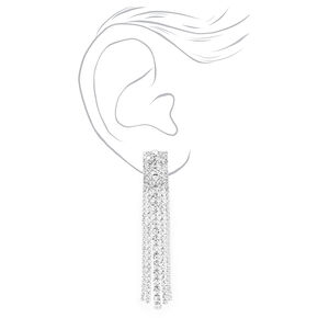 """Silver 2.5"""" Thick Embellished Linear Drop Earrings,"""
