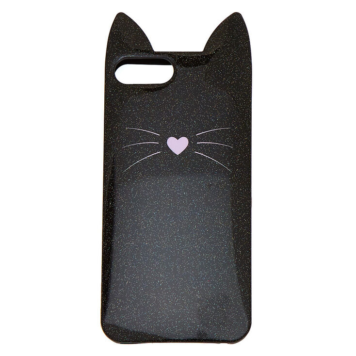 Black Cat Glitter Phone Case - Fits iPhone 6/7/8 Plus,