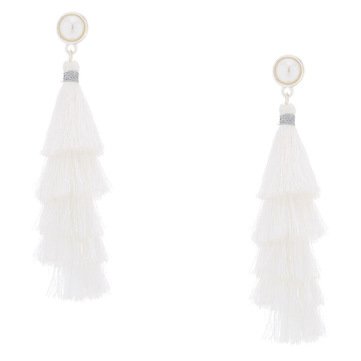 "2.5"" Tiered Tassel Drop Earrings - White,"