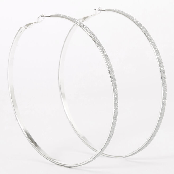 Silver 80MM Glitter Thin Hoop Earrings,