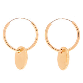 Gold 12MM Disc Hoop Earrings,