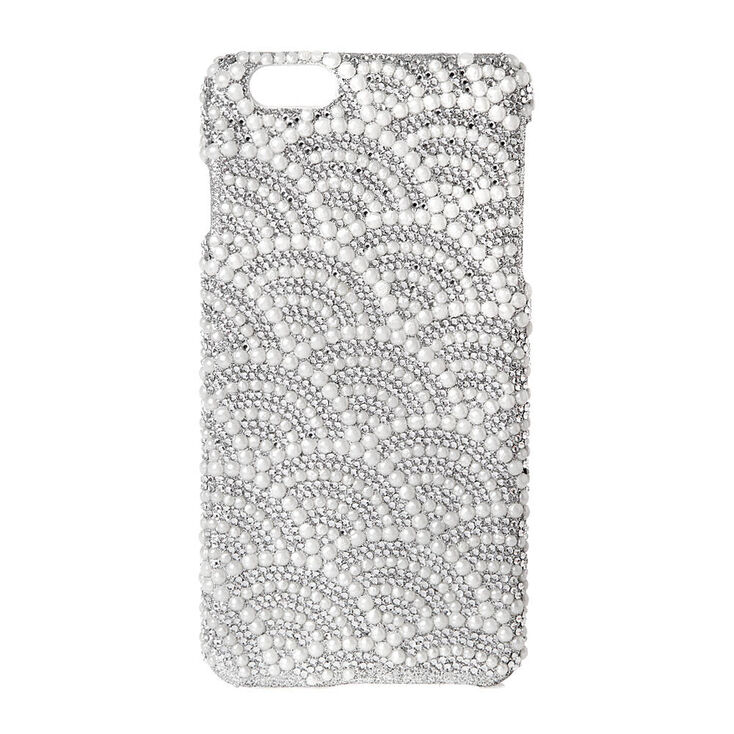 Scalloped Rhinestone & Pearl Phone Case - Fits iPhone 6/7/8 Plus,