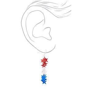 """Silver 2.5"""" Foil Star Drop Earrings,"""