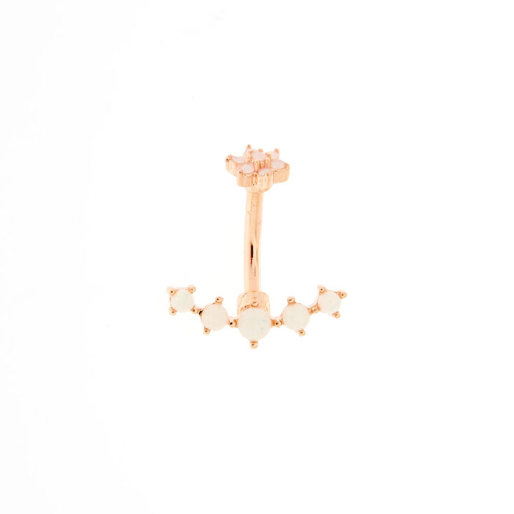 Rose Gold Blush Crystal Belly Ring,