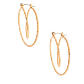 Gold 35MM Double Spiral Hoop Earrings,