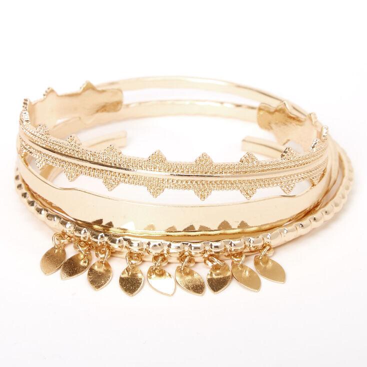 Gold Sleek Filigree Bangle Cuff Mixed Bracelets - 5 Pack,
