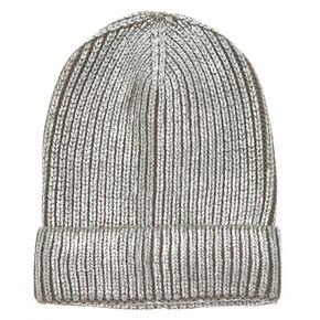 Foil Knit Beanie - Silver,