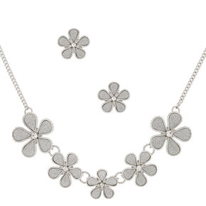 Silver Glitter Floral Jewelry Set - 2 Pack,