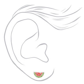 Sterling Silver Watermelon Stud Earrings,