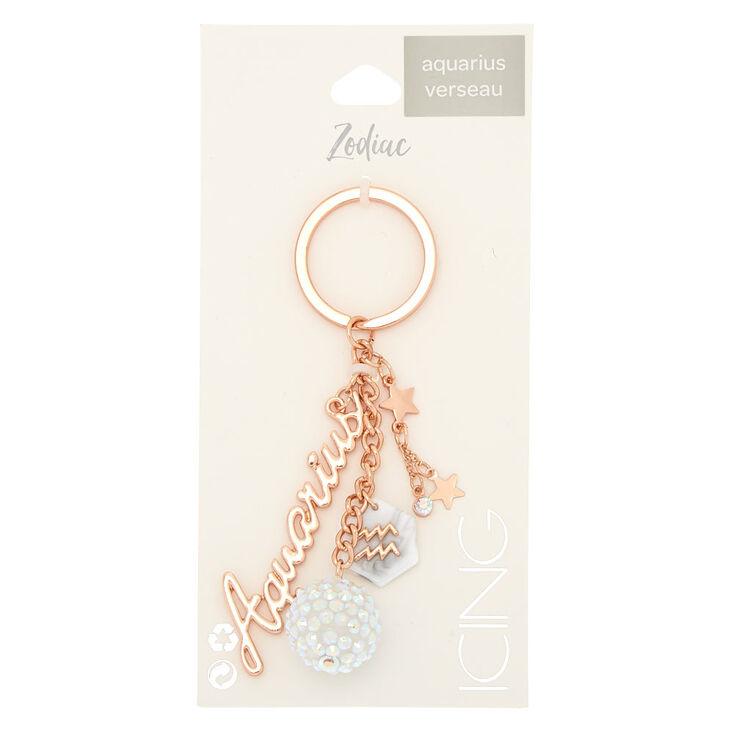 Zodiac Rose Gold Keychain - Aquarius,