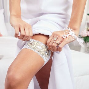 Embellished Lace Bridal Garters - White, 2 Pack,