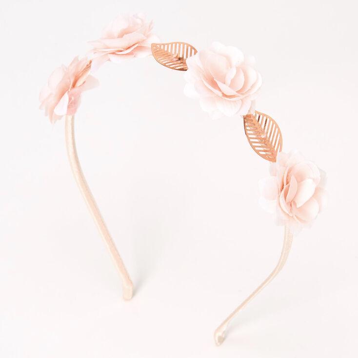 Rose Gold Flower Leaf Headband - Blush Pink,
