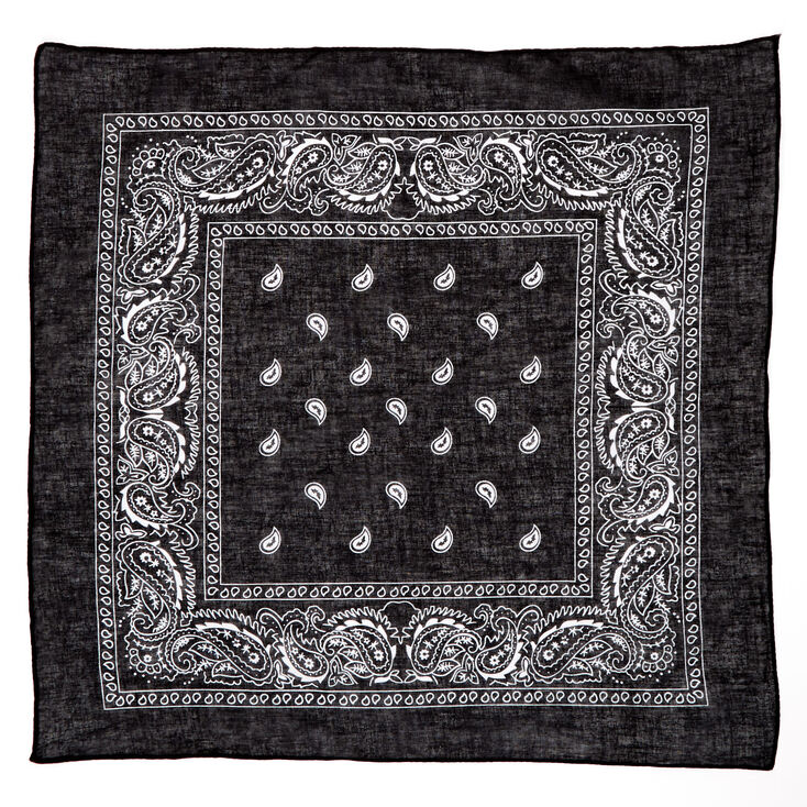 Paisley Bandana Headwrap - Black,