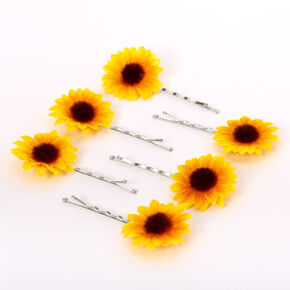 Sunflower Hair Pins - Yellow, 6 Pack,