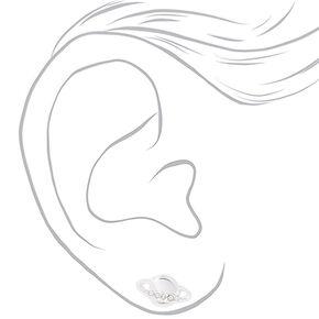 Sterling Silver Embellished Planet Stud Earrings,