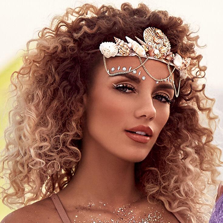 Goldtone Glitter Mermaid Crown Headwrap,