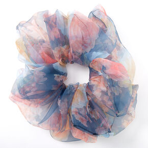 Floral Chiffon Giant Hair Scrunchie - Navy,
