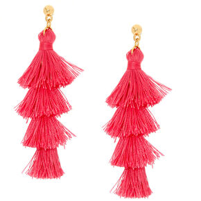 Pink Tiered Tassel Drop Earrings,