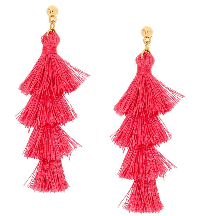 Pink Tiered Tassel Drop Earrings,