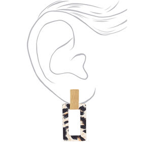 "Gold 2.5"" Leopard Drop Earrings,"