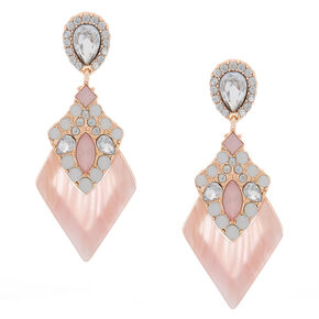 "2.5"" Lucite Shine Drop Earrings - Pink,"