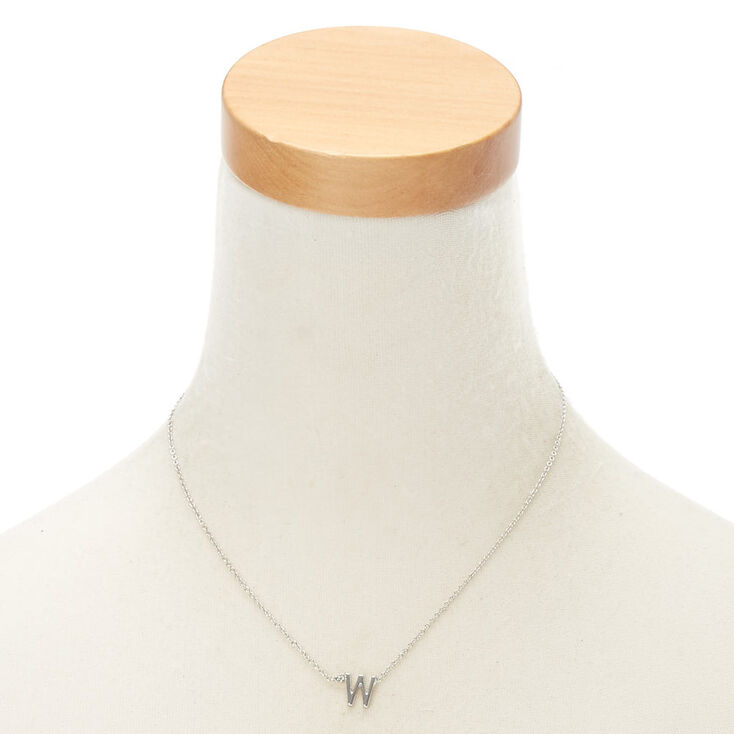 Silver Stone Initial Pendant Necklace - W,