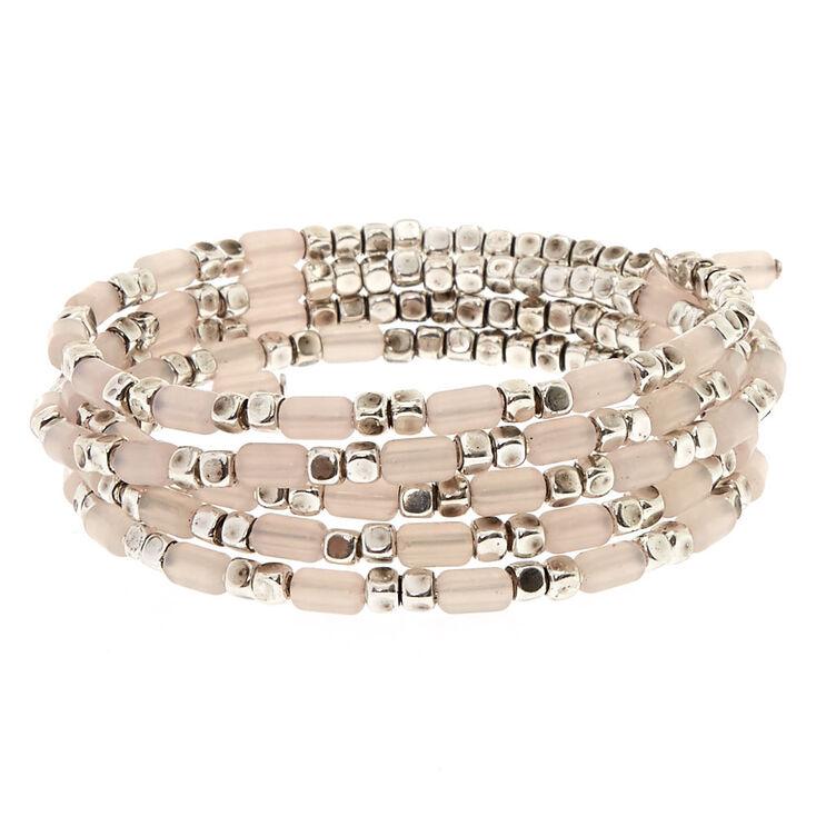 Light Pink Beaded Coil Bracelet,