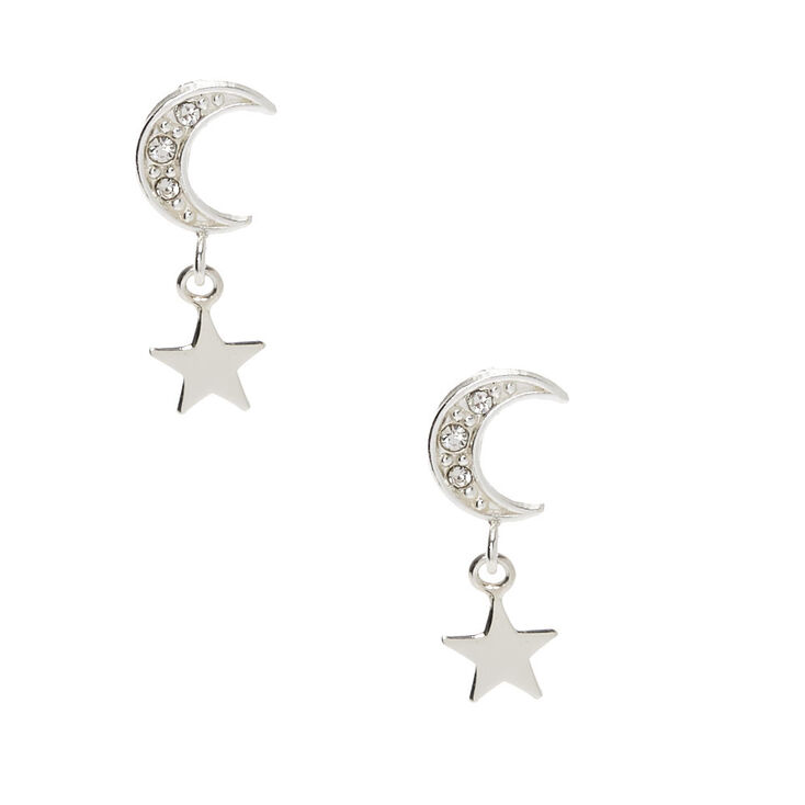 "Sterling Silver 0.5"" Crystal Moon Star Drop Earrings,"