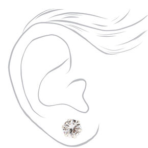 Sterling Silver Cubic Zirconia Round Cupcake Stud Earrings - 7MM,