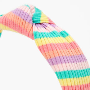 Rainbow Striped Ribbed Knotted Headband,