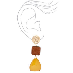 """Gold 2.5"""" Wooden & Yellow Stone Tiered Drop Earrings,"""