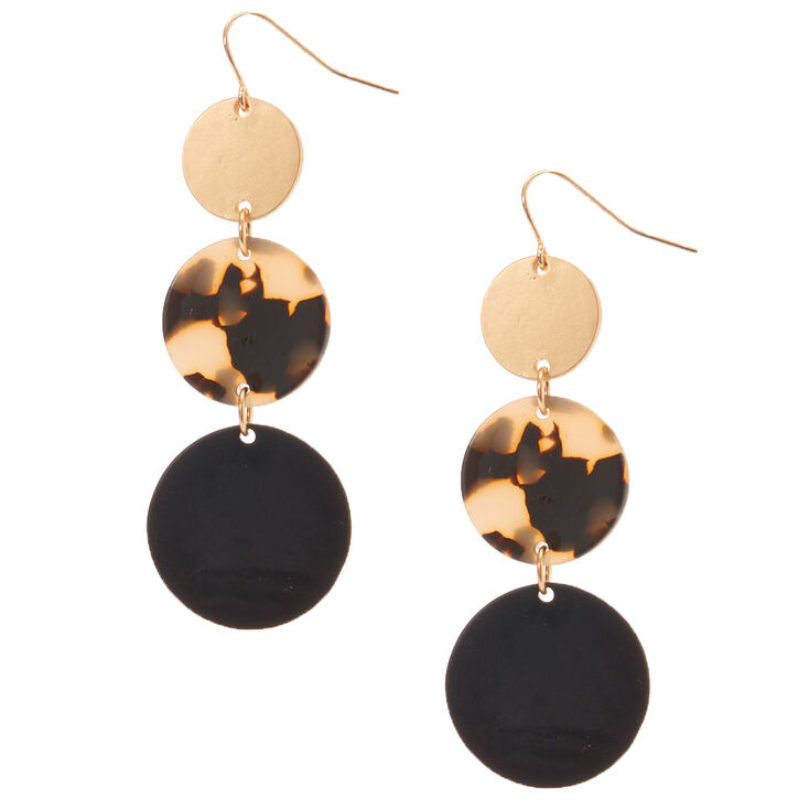 "Gold 2"" Resin Tortoiseshell Disc Drop Earrings,"