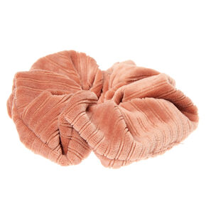 Ribbed Velvet Hair Scrunchie - Peach,