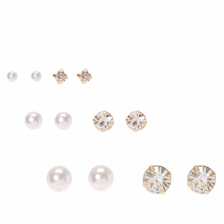 Faux Pearl & Crystal Graduated Stud Earrings,